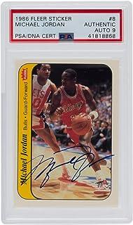 Michael Jordan Signed 1986 Fleer Sticker #8 Chicago Bulls Card PSA/DNA Auto 9
