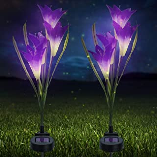 Sorbus LED Flower Light Lily Stakes, 2 Pack Solar Multi-Color Changing 8 LED Outdoor Garden Flowers,Lawn, Garden, Patio, Night Lighting, Path Walkway, Gravestone, Wedding (2 Purple Color Changing)
