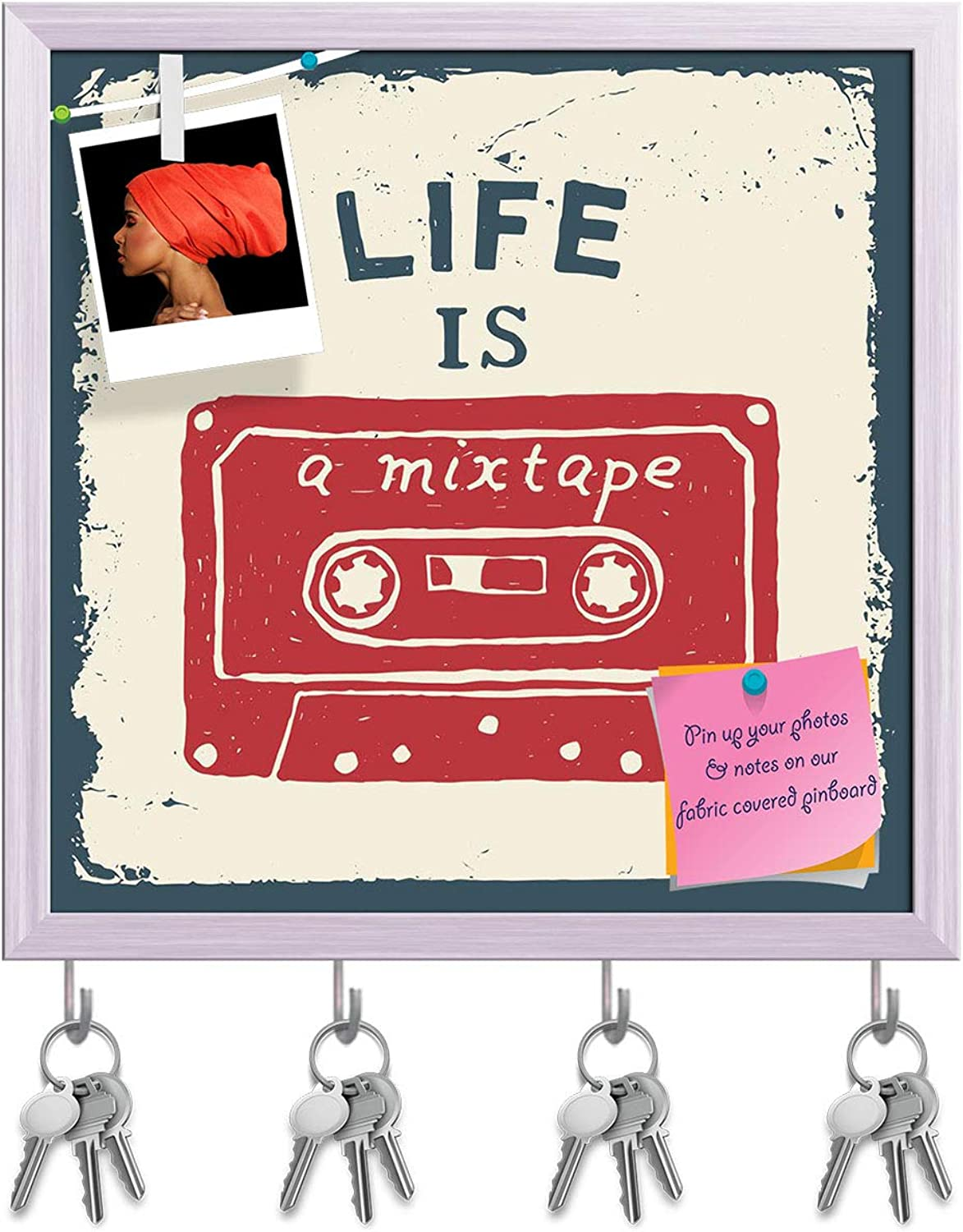 Artzfolio Life is A Mixtape Key Holder Hooks   Notice Pin Board   White Frame 12 X 12Inch