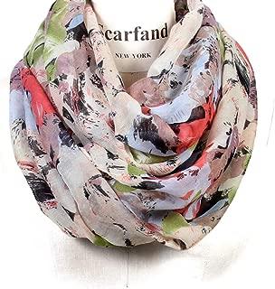 Romantic Rose Flower Print Lightweight Infinity Fashion Scarf & Head Wrap