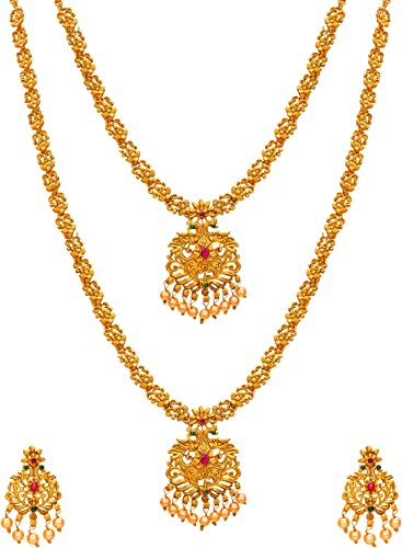 Fashion Jewellery Latest Designer Pearl American Diamond Gold Plated Temple Jewellery Set For Girls And Women