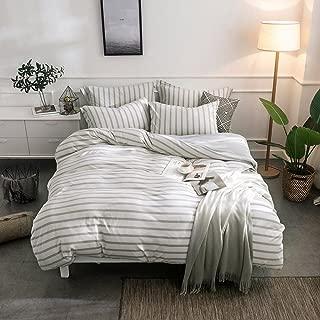 Merryfeel Cotton Duvet Cover Set,100% Cotton Jersey Knit Striped Duvet Cover and Pillowshams,3 Pieces Bedding Set - (Queen,Grey Stripe)