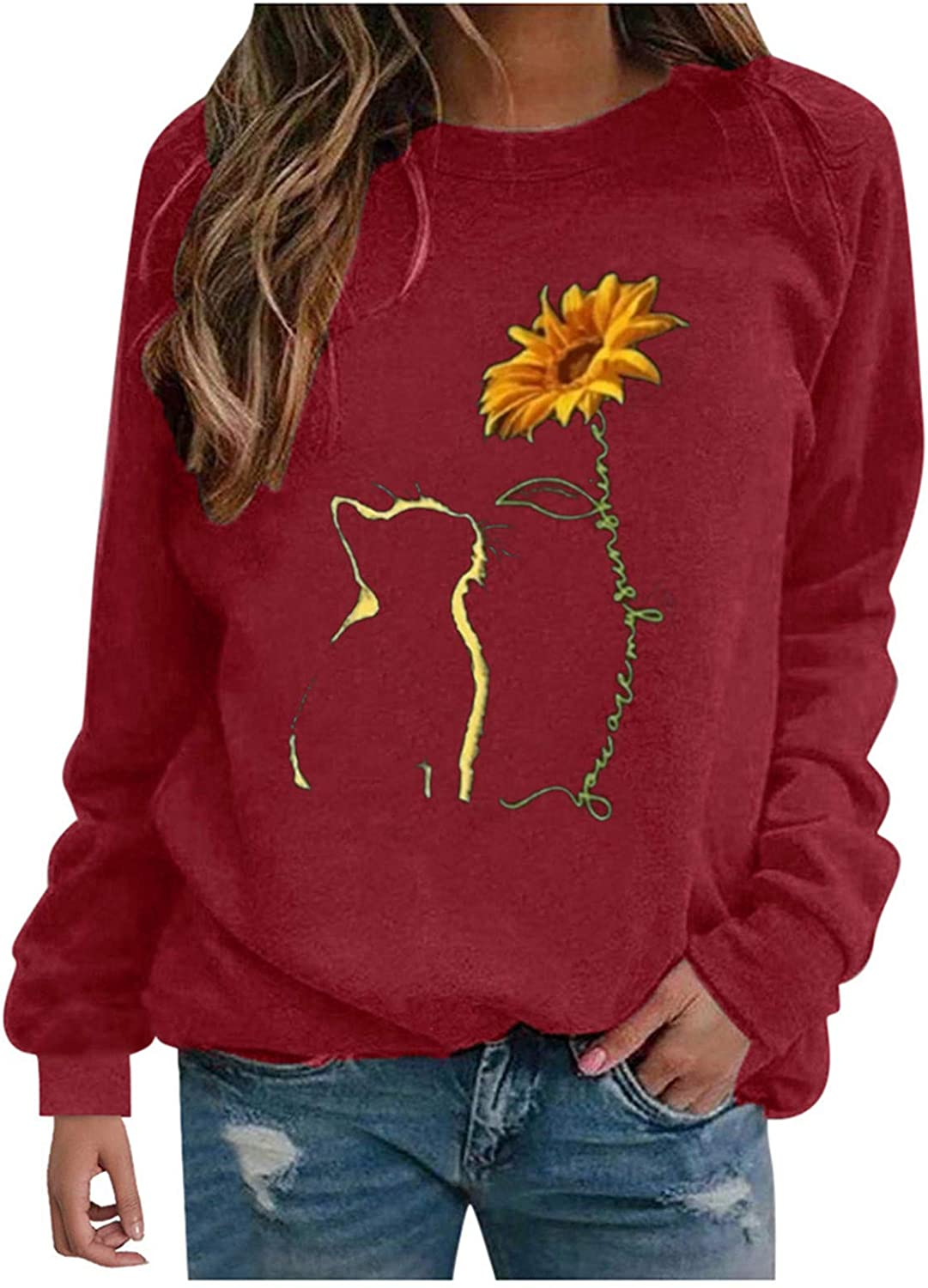 FABIURT Cute Sweatshirts for Women, Womens Casual Floral Printed Long Sleeve Pullover Graphic Crewneck Sweaters Blouses