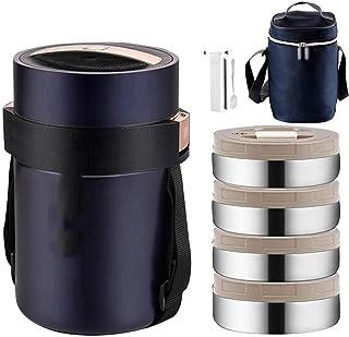 Pour voyage randonn/ée 1,5 l camping pique-nique 2 couches Anti-d/éversement Pot isotherme isotherme en acier inoxydable AMY
