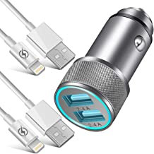 NNICE Car Charger, 2.4A AL-Alloy Dual USB Car Charger Adapter with 2-Pack 3 FT Charging Cable Sync Cord Compatible with iPhone 11 Pro Max/11 Pro/11/Xs/XR/X/8/7/6 Plus SE 5S, iPad Pro Air Mini and More