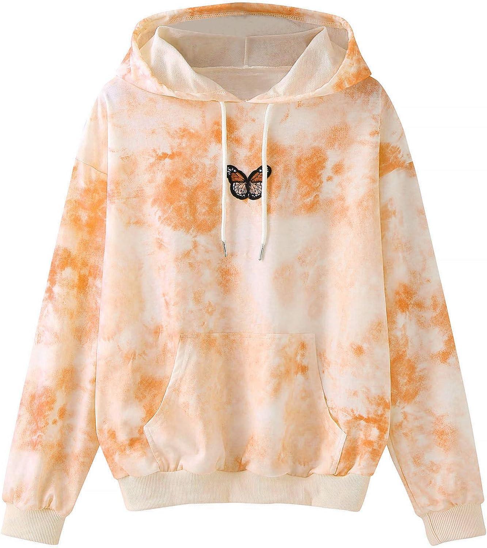 Hoodies for Women Pullover Cute, Women'S Tie Dye Butterfly Embroidery Long Sleeve Zipper Hoodies Teen Girls Sweatshirts