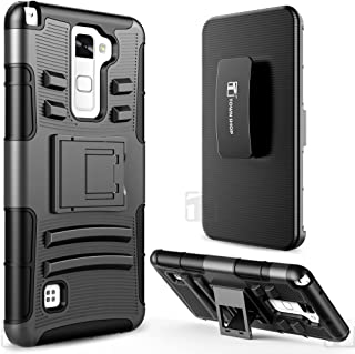 Townshop LG Stylo 2 Plus Case, Black Rugged Impact Armor Hybrid Kickstand Cover with Belt Clip Holster Case for LG Stylus 2 Plus/Stylo 2 Plus/LG K530/ LG K535