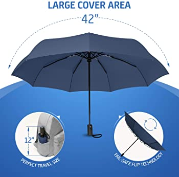 Windproof Reinforced Canopy Ergonomic Handle Auto Open//Close Multiple Colors Structure Of The Snow Compact Travel Umbrella