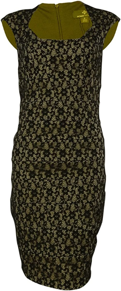 Sangria Floral Lace Overlay Square Neck Sheath Dress