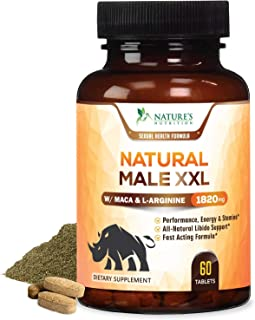 Natural Male XXL Pills Aids Natural Stamina, Strength & Mood - Extra Strength Enlargement and Energy Support - Made in USA - Prime Performance Endurance Supplement for Men - 60 Capsules