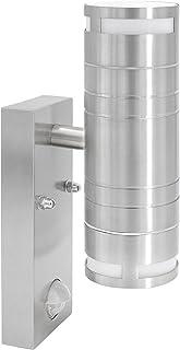 Lámpara de pared exterior de acero inoxidable con detector de movimiento y sensor crepuscular de 2 focos, para bombillas LED o halógenas GU10