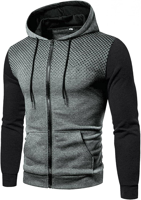 Hoodies for Men Block-Color Polka Dot Sports Gym Fit Mens Sweatshirt Full Zip Long Sleeve Sports Pullover Sweater