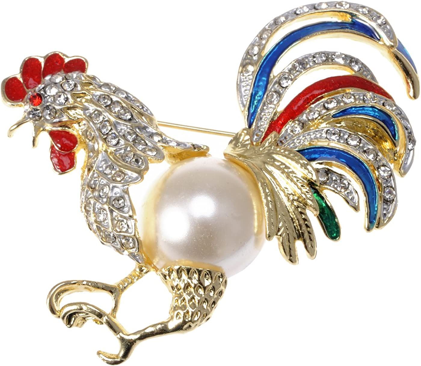 Alilang Womens Ranking At the price of surprise TOP16 Gold Tone Clear Pearl Faux Rooster Rhinestones Ch
