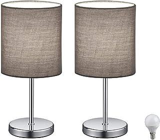 Juego de 2 lámparas LED para mesita de noche, lámpara de mesa con pantalla de tela (gris) para dormitorio, salón, estudio, mesa auxiliar, incluye bombilla LED de 3 W