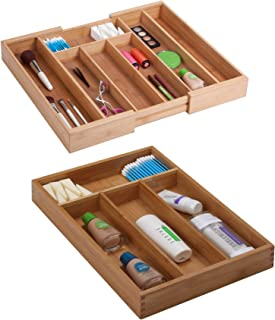 Honey Can Do Bamboo Scratch-Resistant Expandable Cutlery Tray, Brown bundle with Honey Can Do Bamboo Cutlery Tray with 4 Compartments, Brown