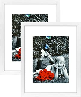Tasse Verre 11x14 White Picture Frame (2-Pack) - HIGH Definition Glass Front Cover - Displays 11 by 14