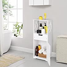 Bathroom Floor Cabinet Free Standing Cabinet Nightstand with 1 Drawer and Cupboard Storage Organizer,Home Furniture Bedroo...
