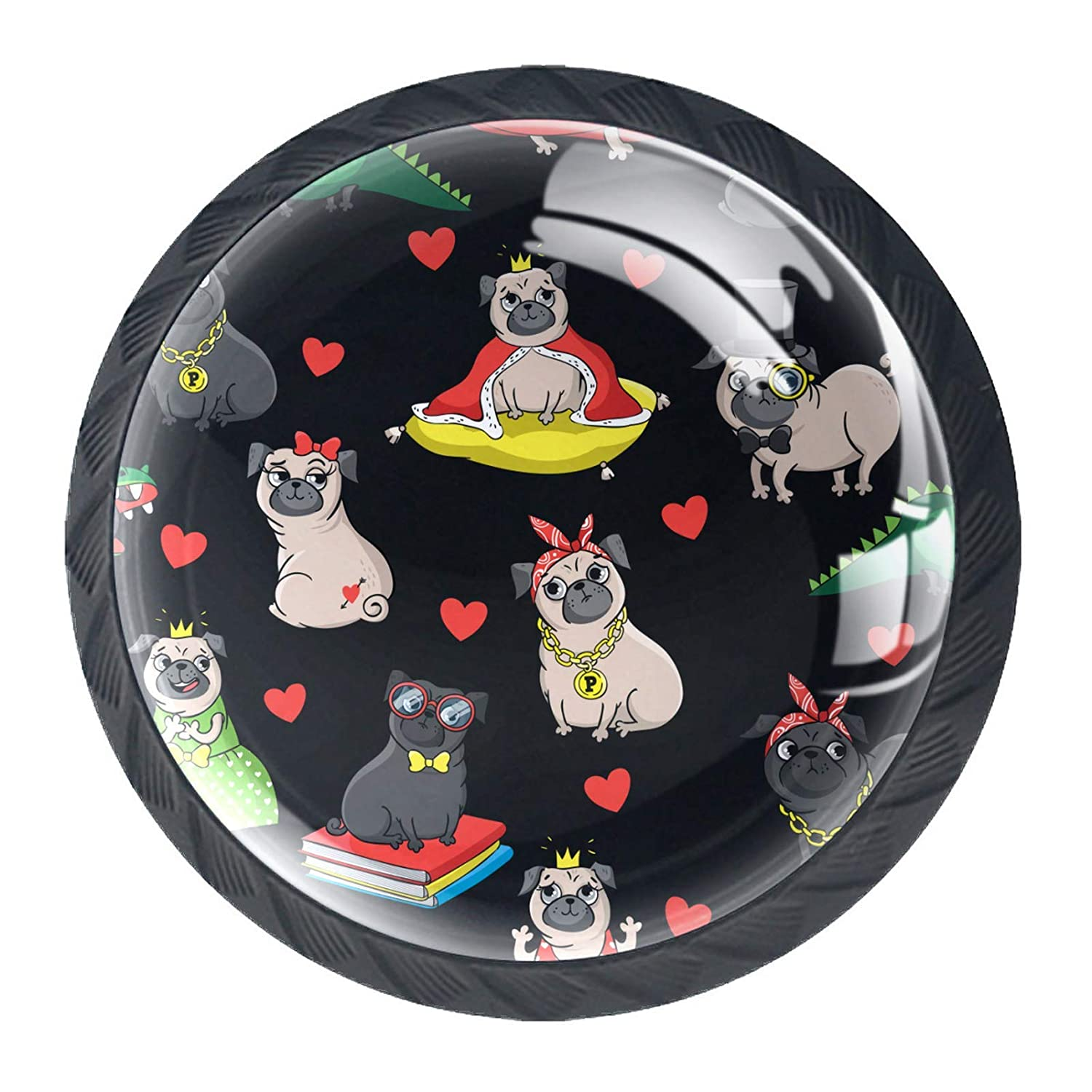 Drawer Max 53% OFF Knobs Baby Funny Pug Dress Beauty products Pulls Black Dog Handles