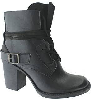 Ravenna-1 Women's Vintage Distressed Lace-Up Stacked Heel Ankle Boot