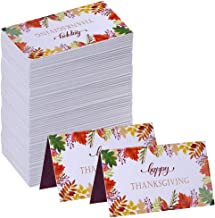Supla 100 Pcs Autumn Thanksgiving Place Cards Fall Leave Escort Cards with Floral Leaf Prints Table Guest Seating Name Cards Number Cards Buffet Food Cards 3.5