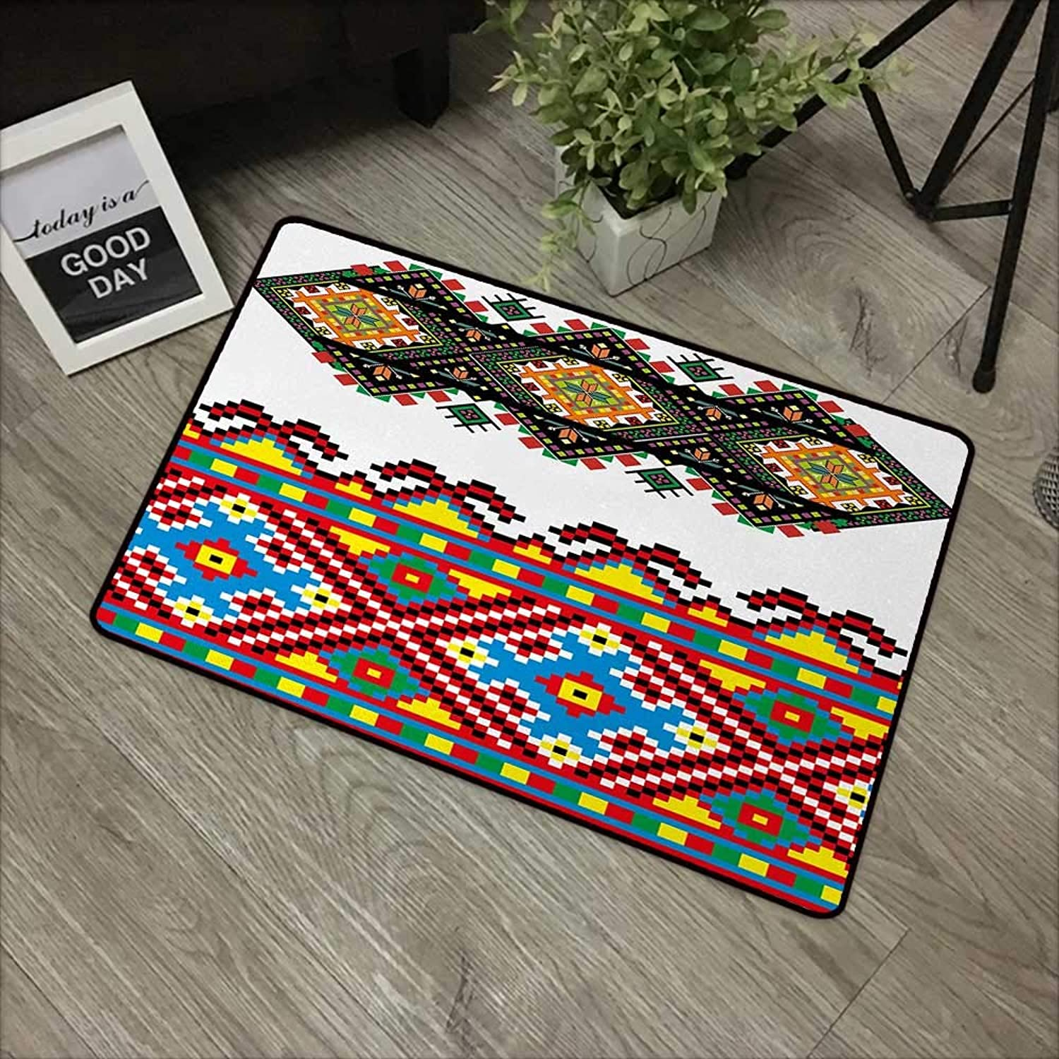 Interior mat W35 x L59 INCH Ethnic,Retro Ukrainian Embroidery Ornament Traditional Cultural Folk Heritage Artful Design,Multicolor Natural dye printing to predect your baby's skin Non-slip Door Mat Ca