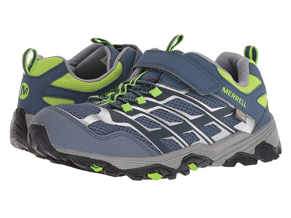 Merrell Kids Moab FST Low A/C Waterproof (Big Kid) (Grey/Green) Boys Shoes