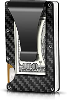 Carbon Fiber Minimalist Wallet for Men - RFID Blocking Credit Card Holder Metal Wallet- Money Clip Slim Front Pocket