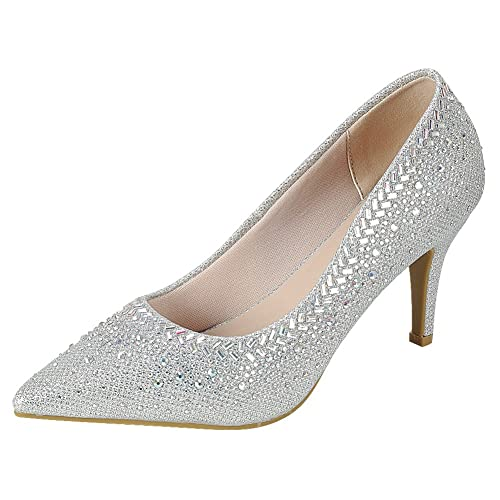 2f22be710 Cambridge Select Women s Pointed Toe Glitter Crystal Rhinestone Stiletto Mid  Heel Pump