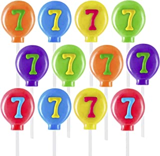 Prextex Number Seven Lollipops - Pack of 12 Balloon Shaped Number 7 Lollipop Suckers for 7th Birthday, Anniversary, Cake T...