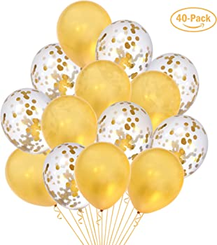 40 Pack LOLOAJOY Gold Balloons and Gold Confetti Balloons