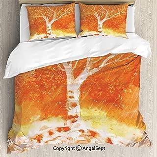 Luxe Bedding SetsMurky Original Hand Drawn Painting with Birches and Rain Drops Hazy Habitat,King Size,Microfiber 3 Piece Duvet Cover Set, Beding Set,Orange