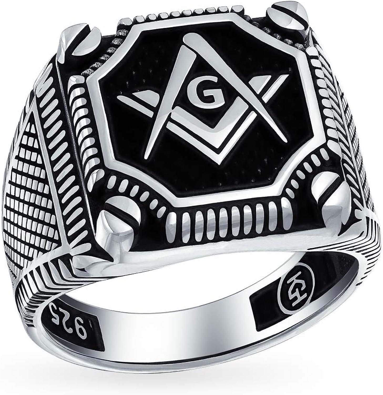 Hombre Negro Onyx Gemstone Inlay Compass Freemason Masonic Signet Ring Solid Oxidized 925 Silver En Turquía