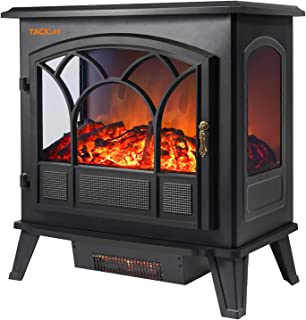TACKLIFE Electric Fireplace Heater, 25 Inch Dual Temperature Control 750 W / 1500W Electric Fireplace, Portable Indoor Space Heater, with 3-D Flame Effect, CSA Certification, Indoor Companion