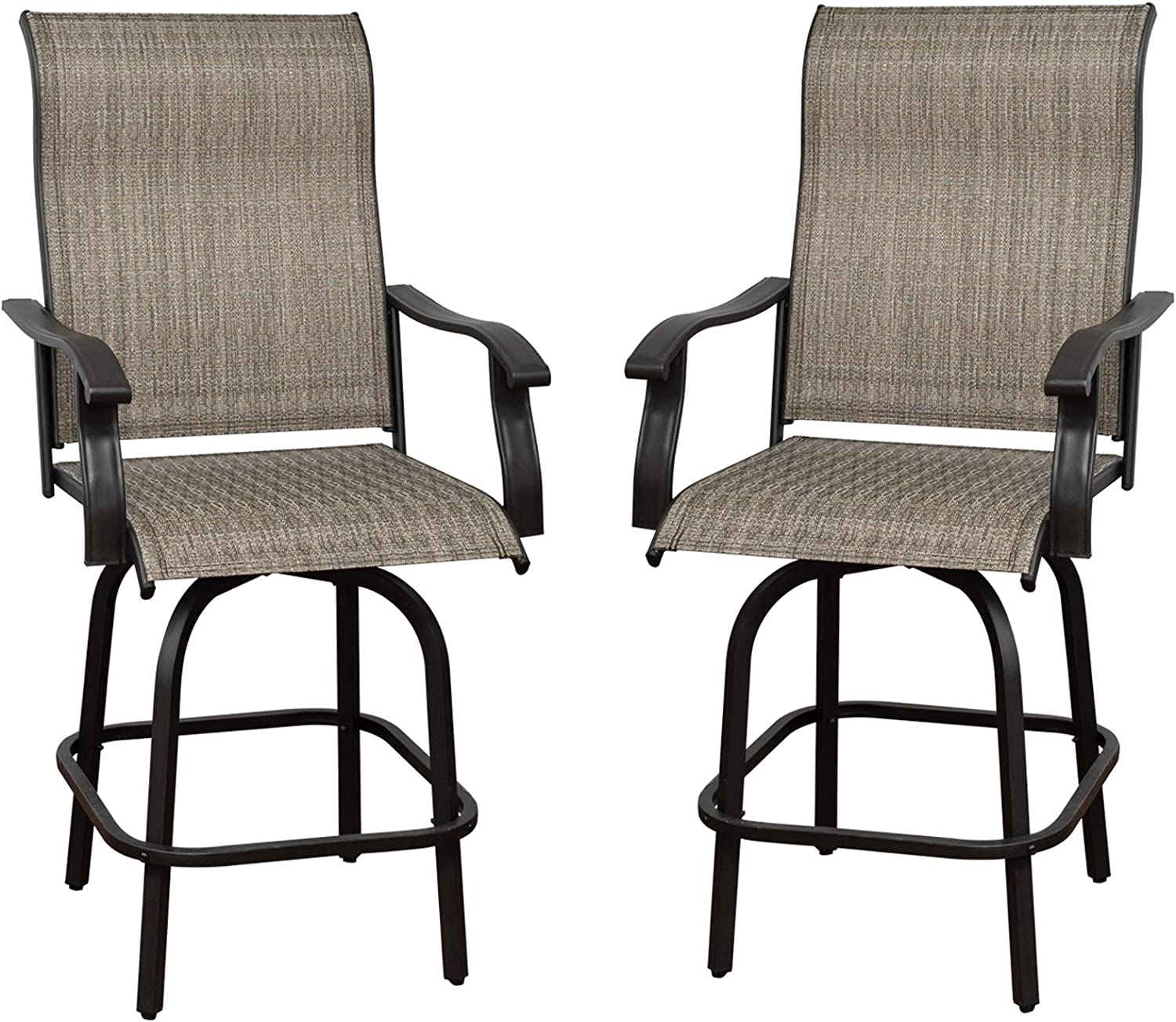 Outdoor Swivel 大注目 Bar Stools Set of Chairs - 配送員設置送料無料 T 2 Height Patio