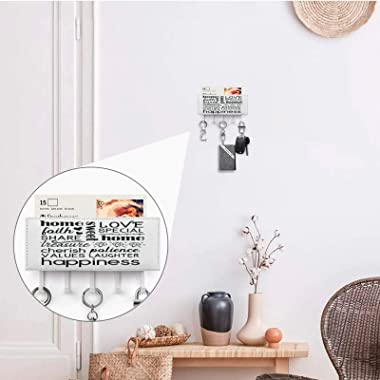 Key Holder for Wall Entryway Mail Holder for Wall Key Rack for Wall with 5 Key, Subway Art for Home Black, Wall Mount Mail Le
