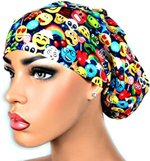 254524675c0 Womens Surgical Scrub Hat OR Nurse Cap Euro Style Adjustable Cap Emojis