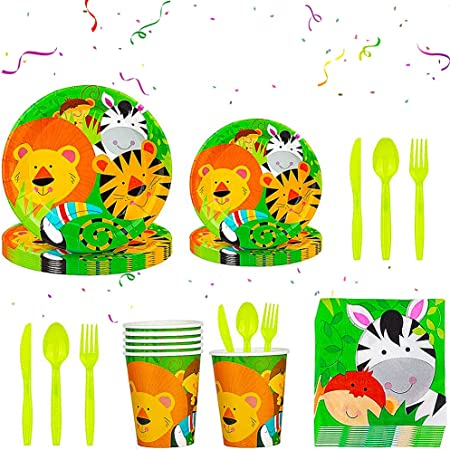 BETOY 112 Pezzi Animali Party Kit Compleanno, Jungle Safari Party Piatti, Bicchieri, Tovaglia, Cannucce, Tovaglioli, Striscioni, Tema Animale Forniture per Feste per Bambini