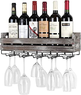 J JACKCUBE DESIGN Wall Mounted Rustic Wood Wine Storage Rack with Metal Glass Holder, Holds 6 Bottles, 5 Glasses, Decorative for Home Bar, Dining Room, Kitchen - MK566A
