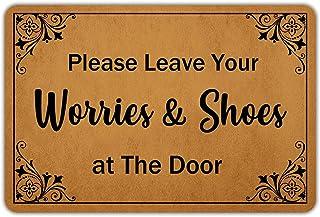 Front Door Mat Welcome Mat PleaseLeaveYourWorries&ShoesatTheDoor Rubber Non Slip Backing Funny Doormat Indoor Outd...