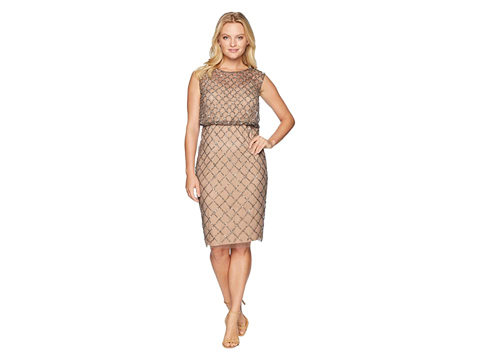 Adrianna Papell Petite Fully Beaded Cap Sleeve Cocktail Dress (Lead Nude) Women