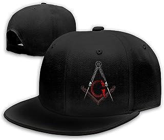 Freemason Square and Compass Red Flat Bill Hats Snapback Hat Baseball Caps for Men Adjustable
