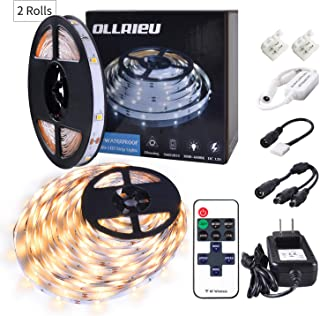 ollrieu Dimmable LED Strip Lights,Flexible 24.6ft Rope Lights Warm White 3000K with RF Remote 12V UL Listed Power Plug 225 Units SMD 2835 LEDs Decorative Light Strip for TV Kitchen Mirror Room Cabinet