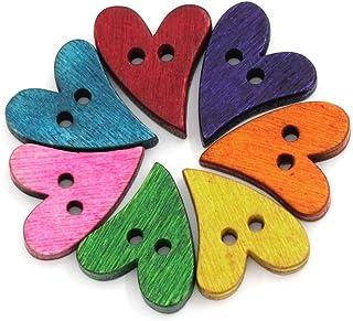 Botões de madeira Souarts 100 peças em formato de coração para scrapbook de costura, 2 furos, botões de madeira 21 mm x 17 mm