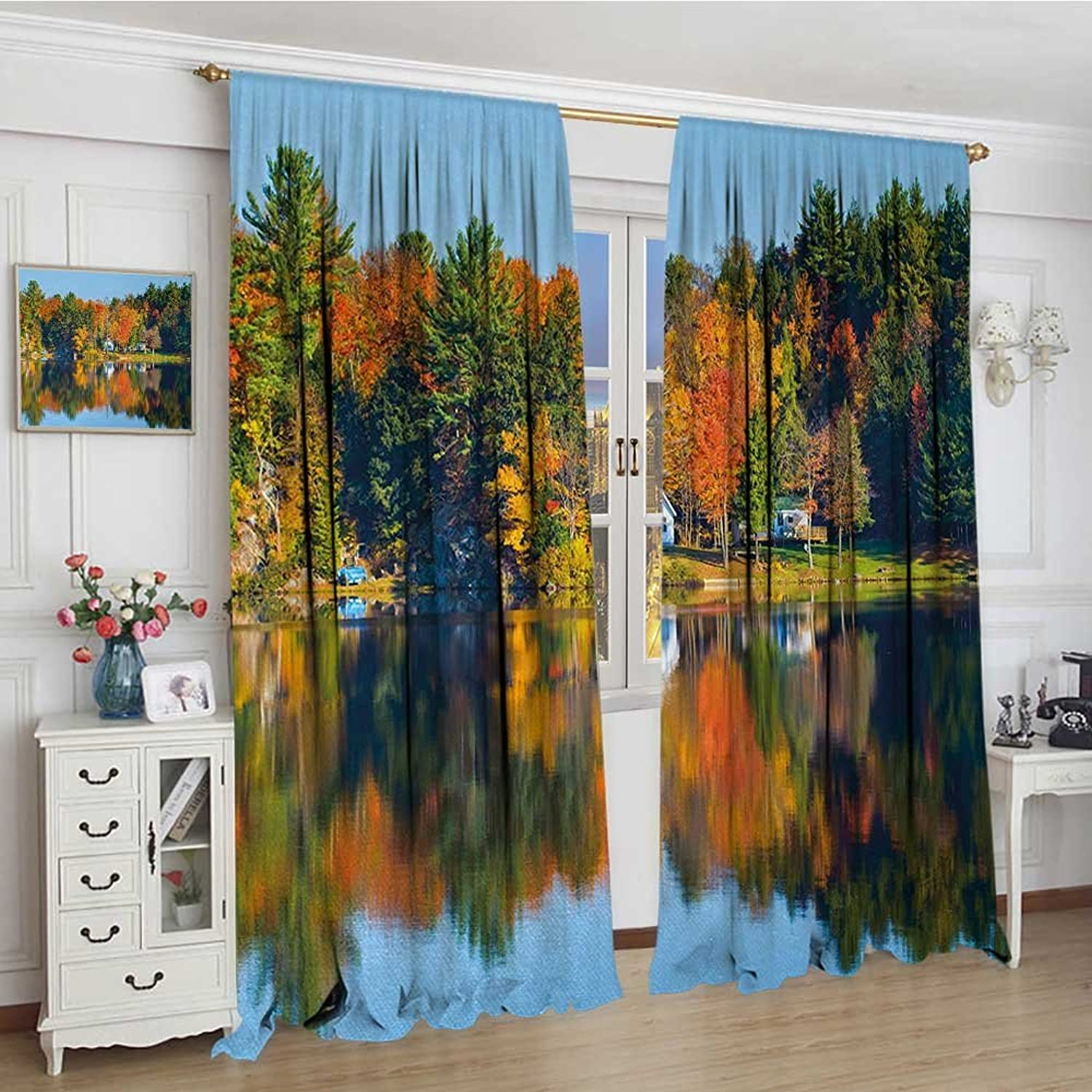 Smallbeefly Landscape Widened Blackout Window Curtain Autumn Fall Landscape with orange Marigold Leaves Lake Houses and Clear Sky Image Waterproof Window Curtain 120 x72  Multicolor