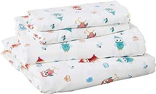 Pointehaven Flannel Deep Pocket Set with Oversized Flat Sheet, Queen, Owl