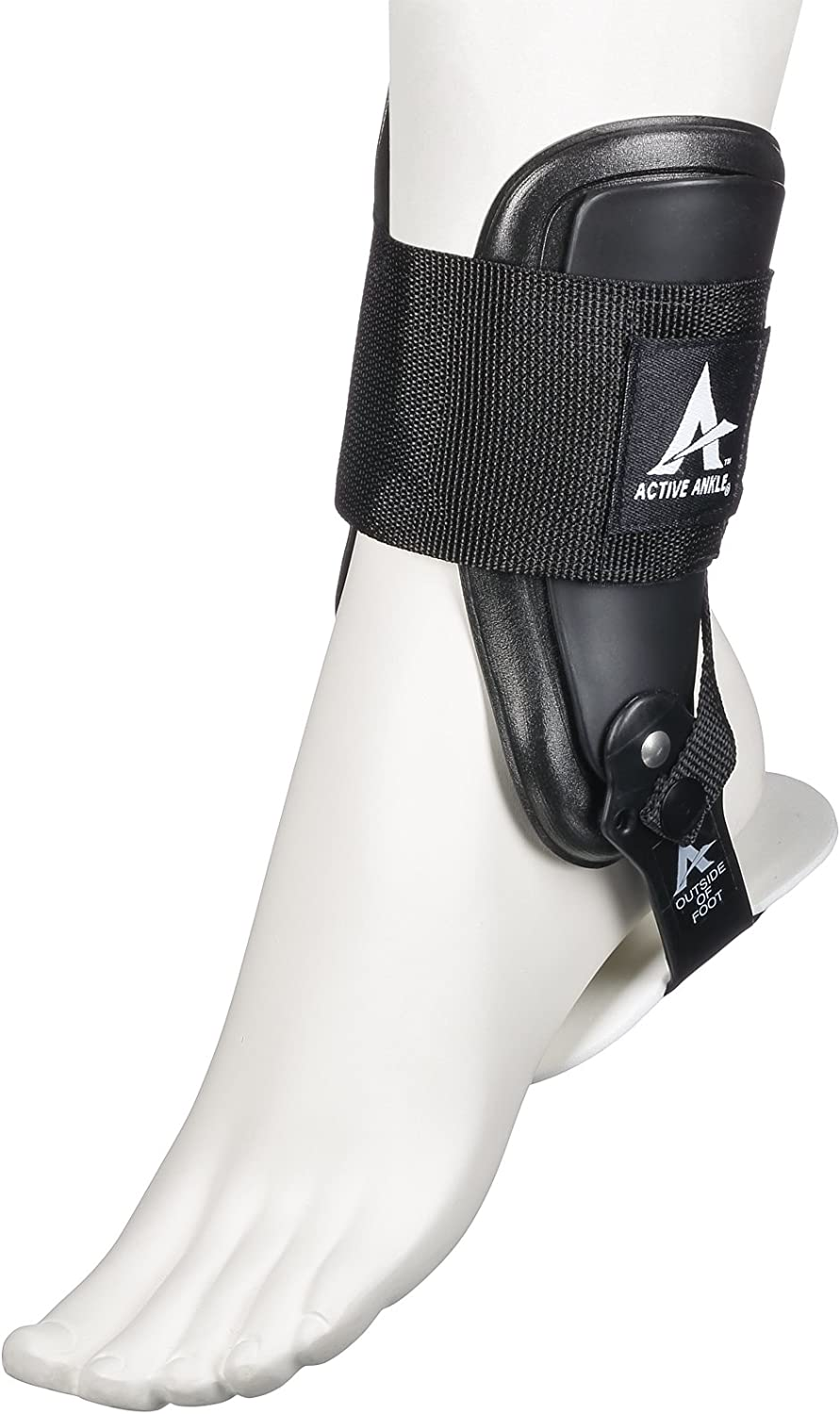 Active Ankle T2 Rigid Ankle Brace for Injured Ankle Predection & Sprain Support, Cheerleading, Football, Volleyball Ankle Braces, Volleyball Gifts, Wear Over Socks in Any Sport, Black