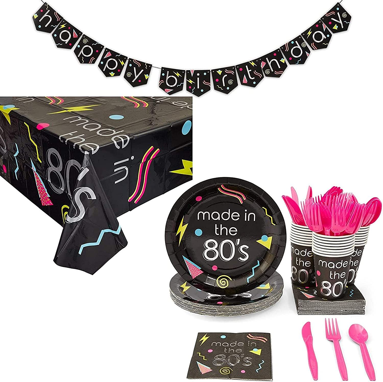80s Birthday Party Supplies, Includes Plates, Napkins, Tableclot
