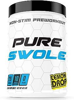 Pure Swole Non Stim Preworkout - Lemon Drop Flavored Preworkout for Men and Women - 20 Servings - Strong Clean Non Stimula...