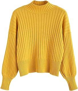 ZAFUL Felpa Pullover da Donna Corta Maglione Donna Manica Lunga in Slim Casual Moda Tops Pullover