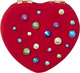Mixed Stone Pink Heart Compact in a Betsey Johnson Pouch